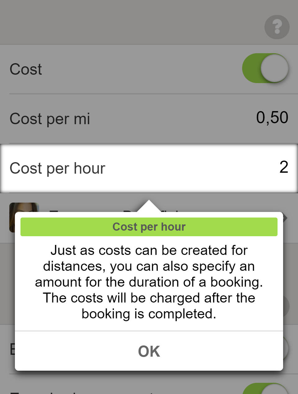 Bookings and Reservations - Costs for bookings