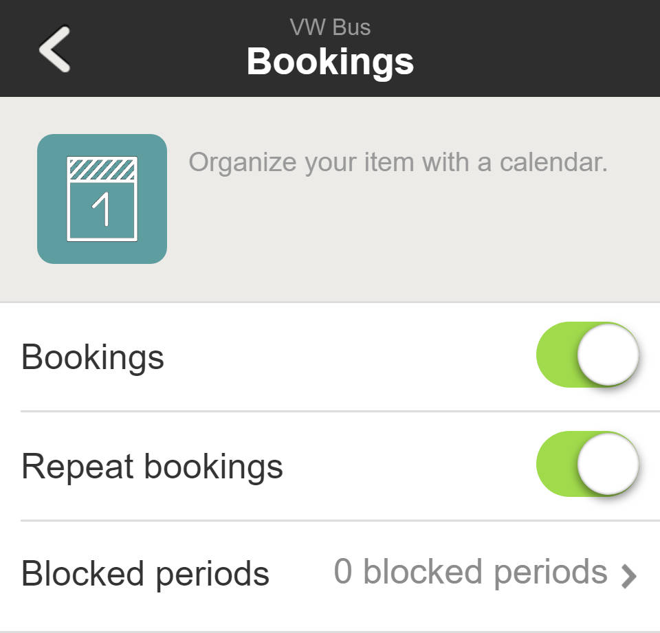 Item settings - Booking settings of WeeShare
