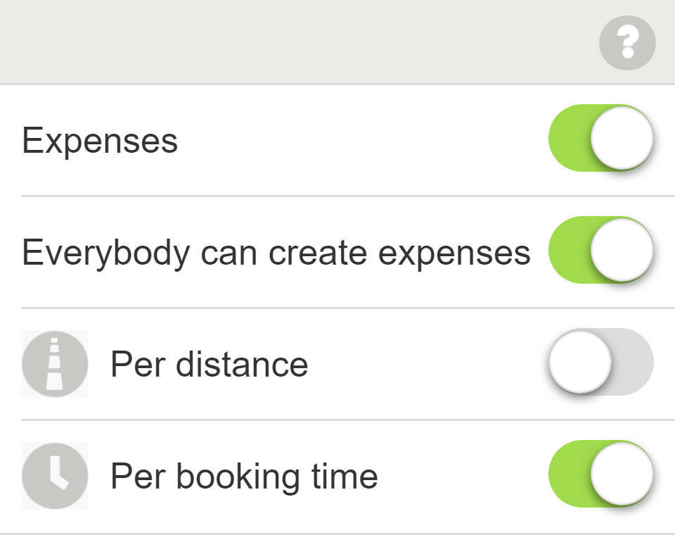Item settings - Expense settings of WeeShare