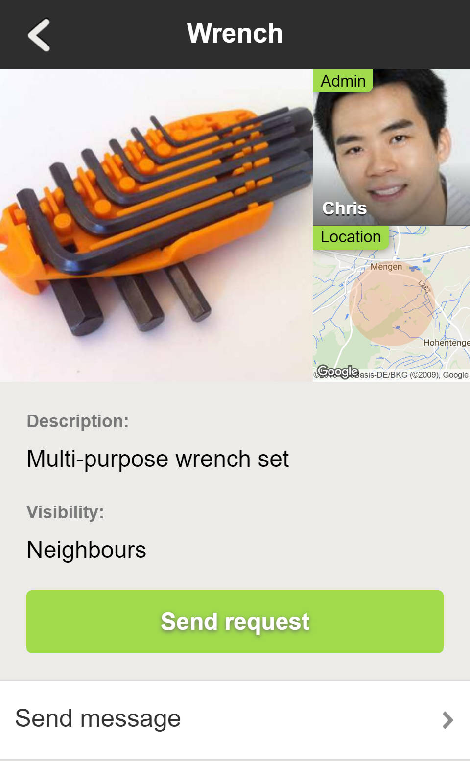 Share with Neighbors - The Item Preview in WeeShare